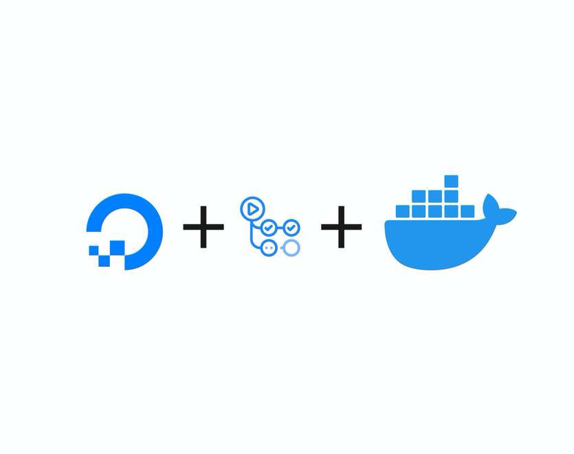 DigitalOcean, GitHub Actions and Docker logos