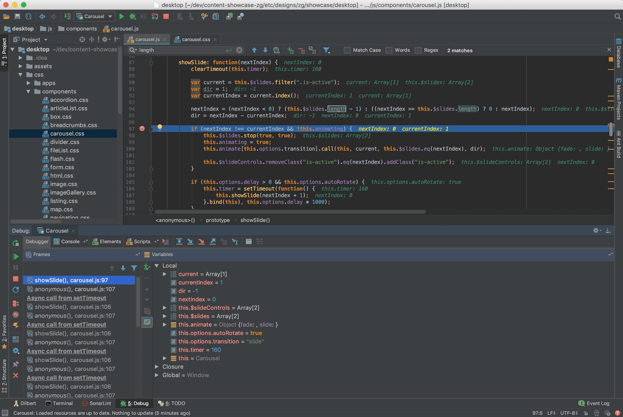 Example IntelliJ IDE running with breakpoint in the code
