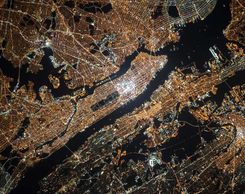 satellite view of New York City Manhattan