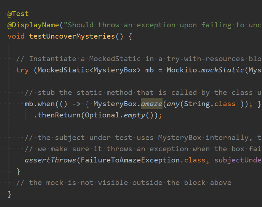 Mockito and JUnit logos visible on top of a code editor with a unit test using a static mock.