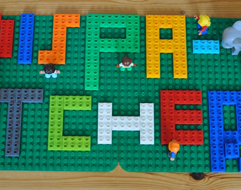 Dispatcher sign made of Lego blocks with Lego elephants