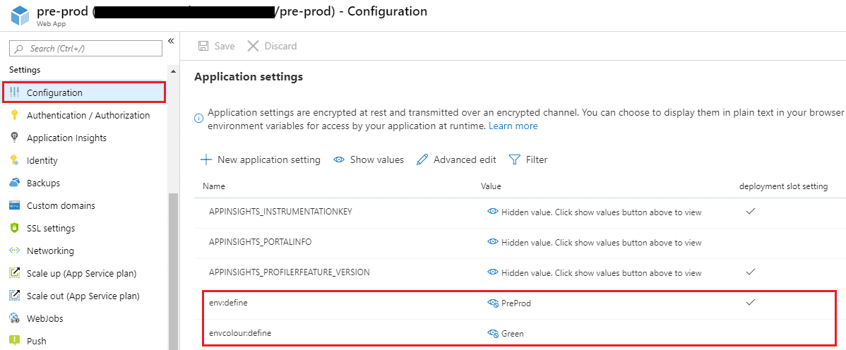 Application settings configuration in Azure