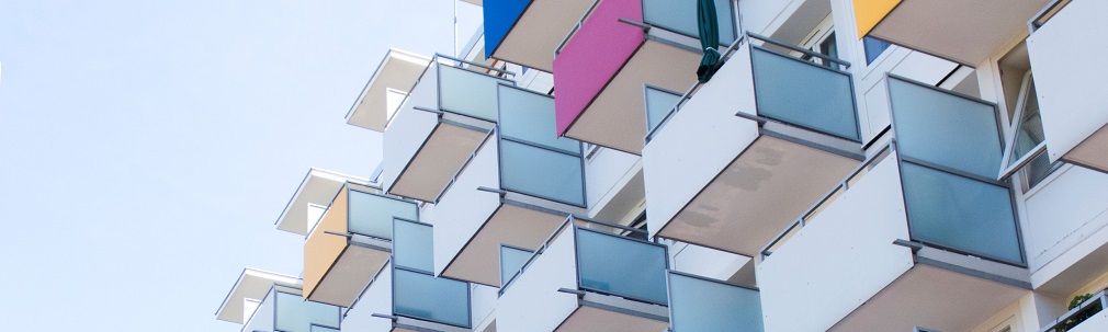 Building with colorful balconies.